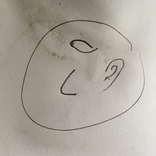 «moi en cyclope» - portrait réalisé par Paloma Tallon (8ans)